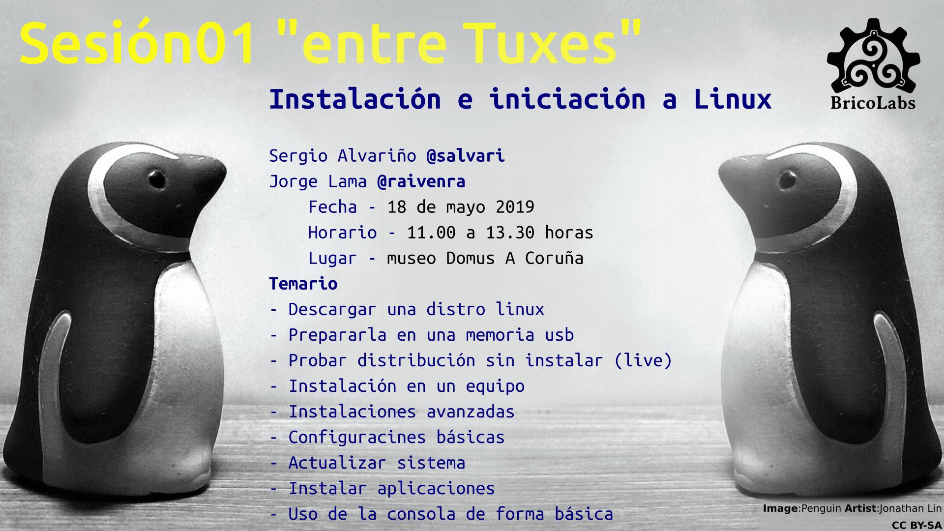 """Cartel anunciando la primera sesión de """"entre Tuxes"""": Iniciación a Linux"""