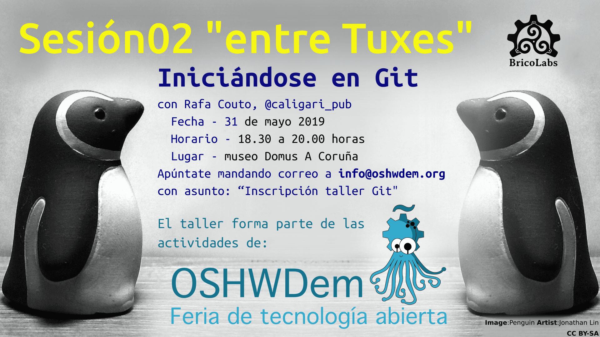 """Cartel anunciando la segunda sesión """"entre Tuxes"""": Iniciándose en Git"""